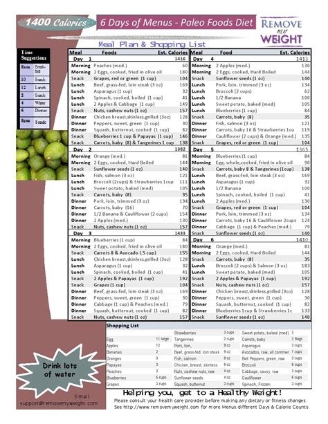 printable diet plans weight loss paleo diet 6 day 1400 calories a day meal plan to lose