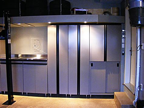 Metal Cabinets For Garage Storage by Metal And Stainless Steel Garage Cabinets With Overhead