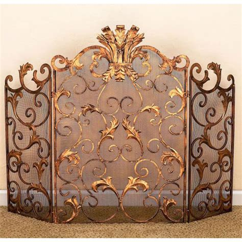 antique gold acanthus leaf accent fireplace screen dr