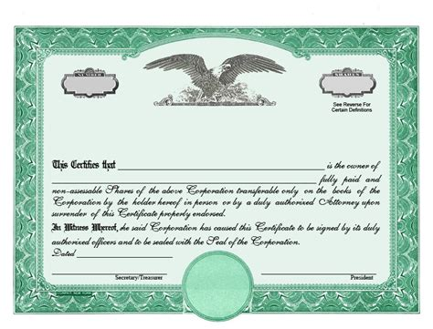 corporate stock certificate template stock certificates llc certificates certificates