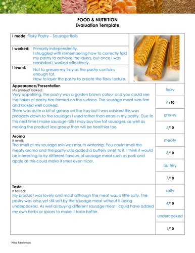 food evaluation by littlemissraw teaching resources tes