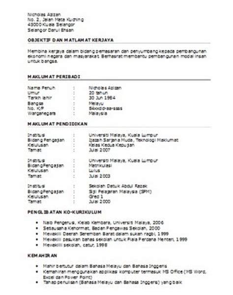 Format Resume Yang Terbaik Contoh Resume Bahasa Melayu Terbaik