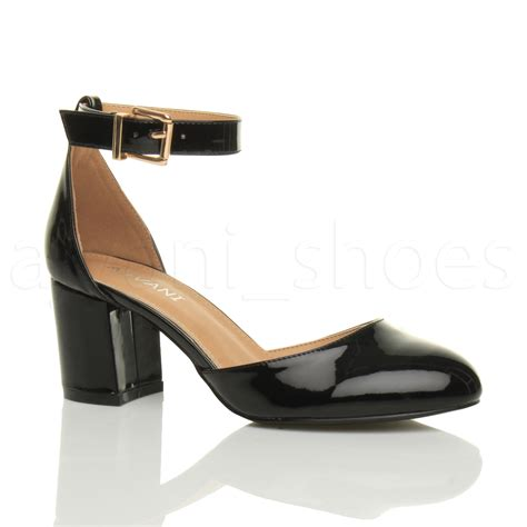womens low mid block heel ankle