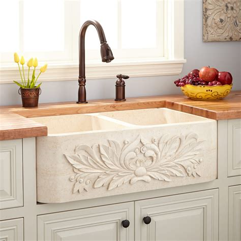 stone kitchen sinks 33 quot ivy polished marble double bowl farmhouse sink cream