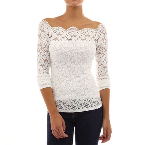 Shoulder Sleeve Lace Top womens sleeve shoulder lace top shirt