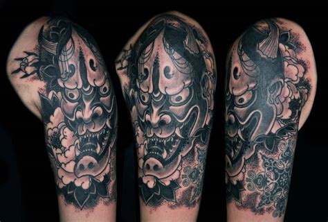 hannya mask tattoo black 47 fantastic hannya sleeve tattoos