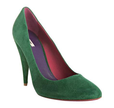 10 Coolest Miu Miu Shoes by Miu Miu Emerald Suede Pointed Toe Pumps In Green Lyst