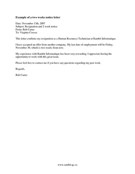 S Resignation Letter Model Exles Of Two Week Notice Letters