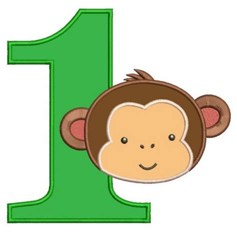 monkey applique birthday number 1 monkey design machine embroidery