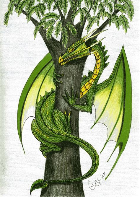 green dragon and rowan tree by cyntht on deviantart