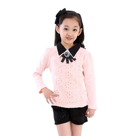 Blouse Gil blouses shirts for school cotton casual o neck floral camisa infantil polo chemises