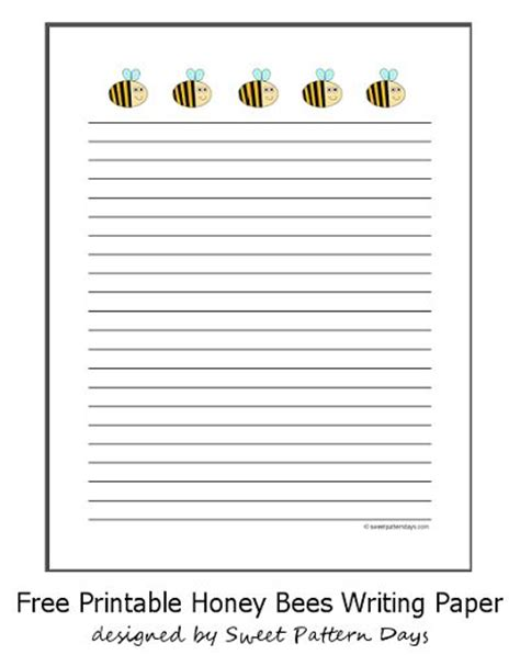 printable bee stationery cute honey bees lined writing paper stationery