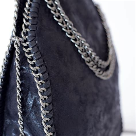 black chaign black chain bag faux leather mini tote beehola