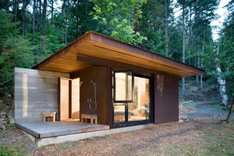 Small Log Cabin Kits Vancouver Island 191 Sq Ft Modern Cabin With Steel Clad Sliding Door