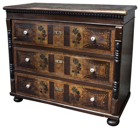 Accent Chest Of Drawers by European Folk Painted Chest Of Drawers Midcentury