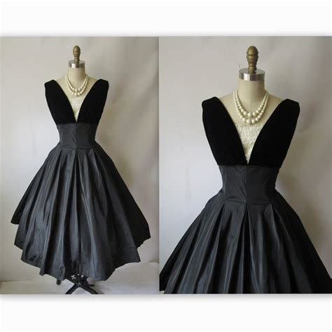 Dress Classic Black 50 s cocktail dress vintage 1950 s black taffeta