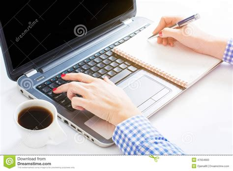 i was writing a paper on the pc writing and typing stock photo image 47604683