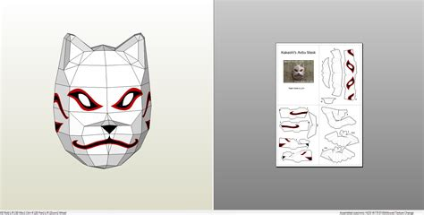 Anbu Mask Papercraft - papercraft pdo file template for anbu mask