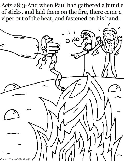 bronze snake coloring page paul bitten by viper sunday school lesson