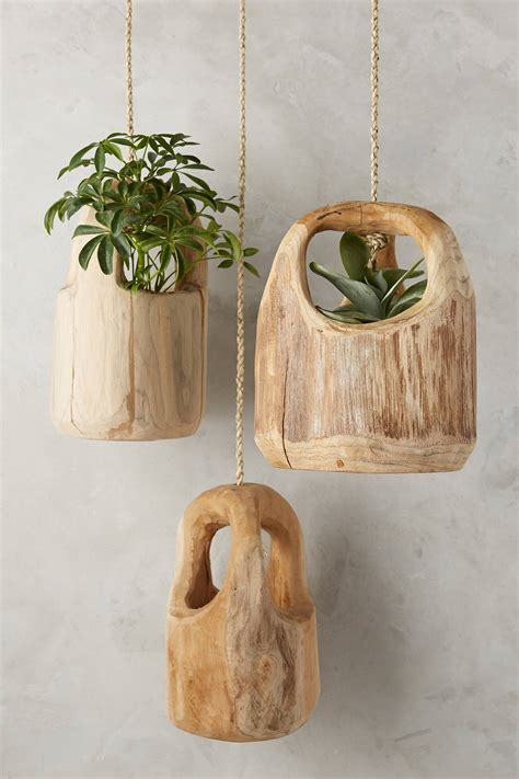 teak wood hanging planter anthropologie