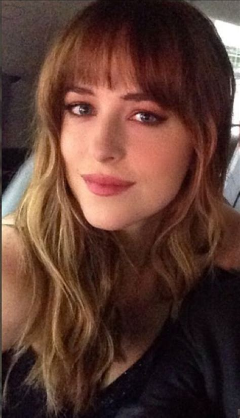 dakota johnson bangs her bangs hair makeup pinterest