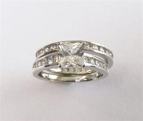 cz engagement set rhodium plated cz wedding rings sizes 7
