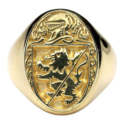 Mens 14K Gold Family Crest Rings
