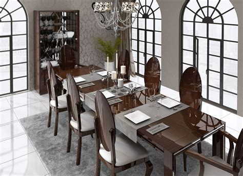 luxurious rectangular  wood fabric seats complete dining