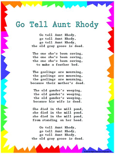 printable lyrics to go tell it on the mountain silly songs lyrics for quot go tell aunt rhody quot with a learn