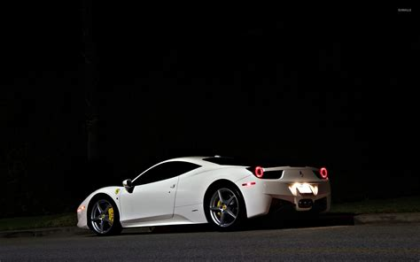 ferrari 458 back white ferrari 458 italia back side view at night wallpaper