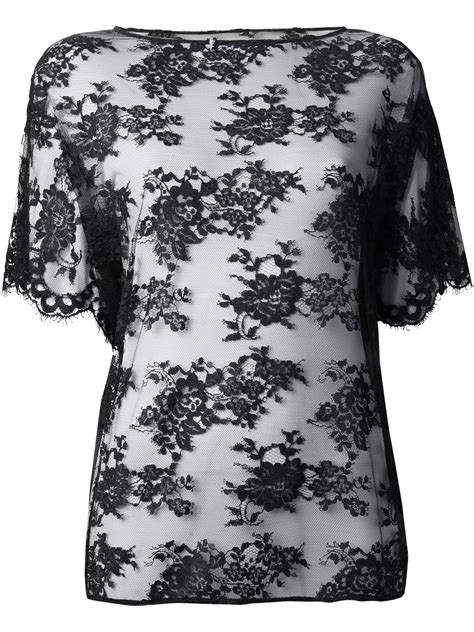 Lace Blouse Black Flower dolce gabbana sheer floral lace top in black lyst