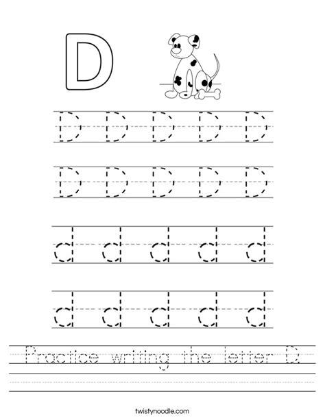Letter D Worksheets by Practice Writing The Letter D Worksheet Twisty Noodle