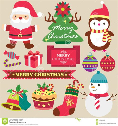 natale clipart gratis theme clip set stock vector illustration