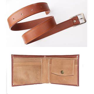 combo of mens faux leather belt color and brown wallet