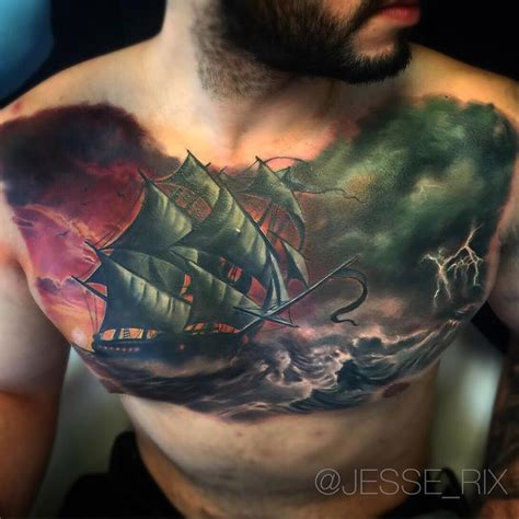 thunderstorm tattoo sailing ship in a seas best design ideas
