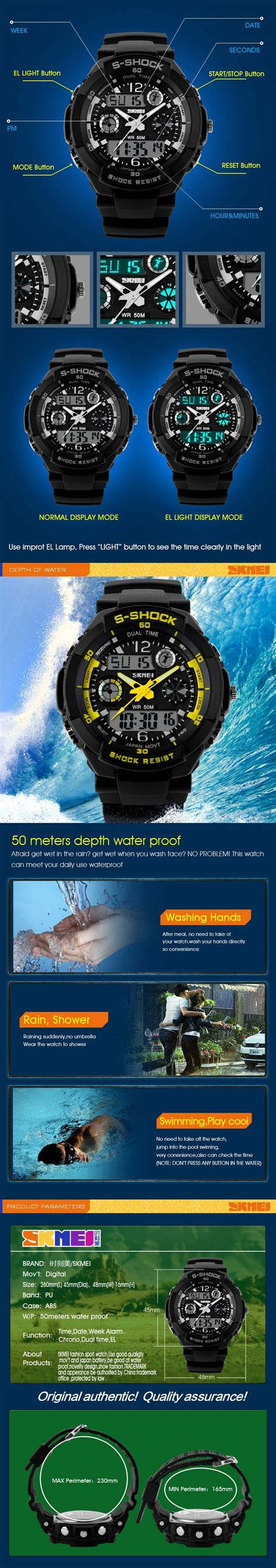 Jam Tangan D Ziner Original Waterproof 8219 Black outdoor sports waterproof shockproof mountaineering electronic watches jam
