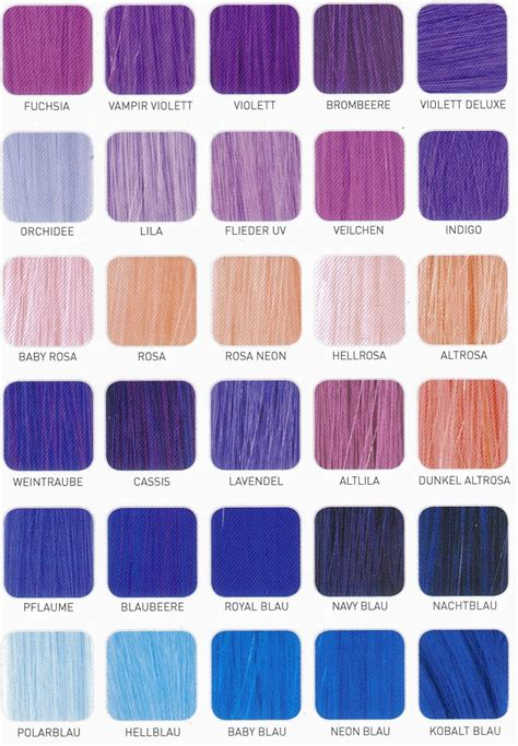 hair dye color chart purple hair color chart shade charts for synthetic hair