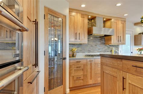contemporary kitchen  quartz countertops  red birch