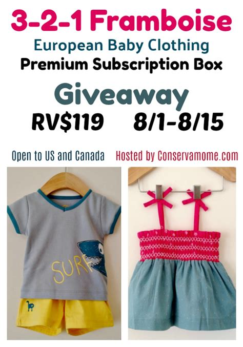 Baby Gear Sweepstakes - 3 2 1 framboise european baby clothing subscription box giveaway ends 8 15 conservamom