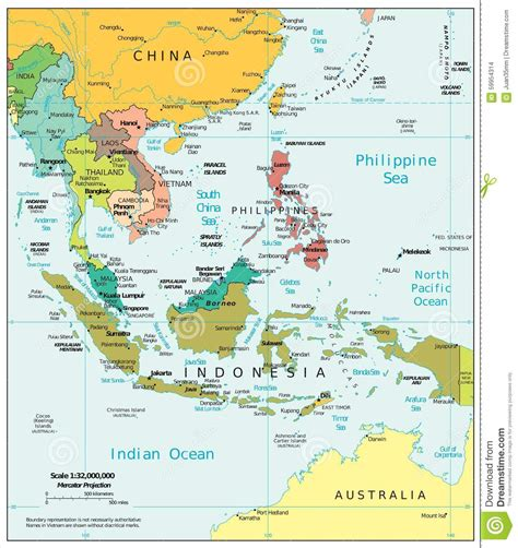 political map of se asia southeast asia region political divisions map stock