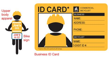 contractor id card template nyc dot bicyclists commercial bicycling