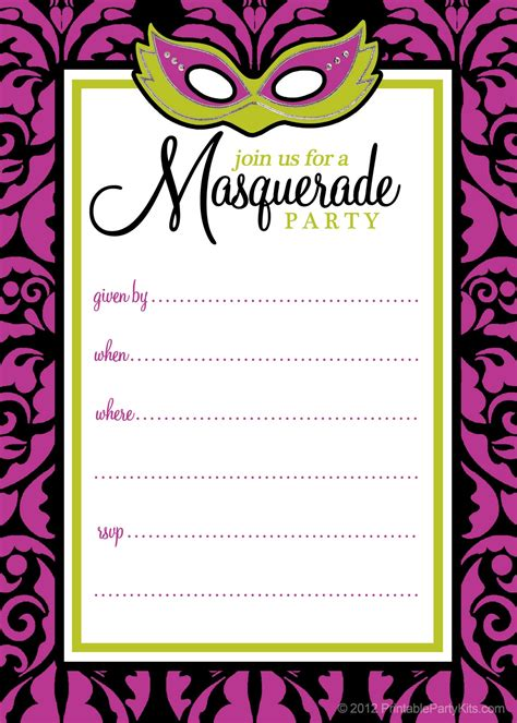 masquerade invitation template free printable invitations masquerade or mardi gras