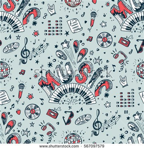 pattern background music vector music background seamless pattern hand stock vector