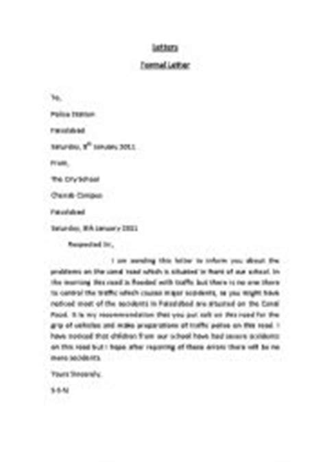 Formal Letter Format Gce O Level O Level Letter Format Letter Format 2017