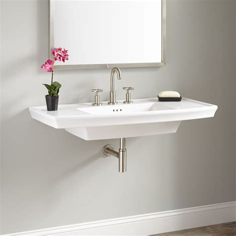 bathroom lavatory olney porcelain wall mount sink bathroom