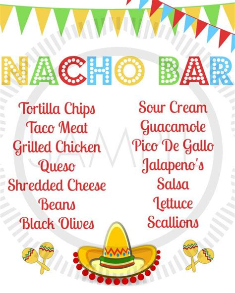 nacho bar toppings list fiesta taco cinco de mayo taco bar nacho bar party