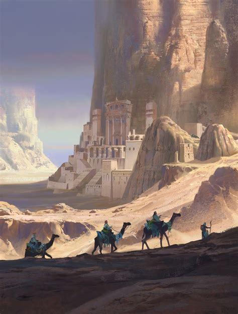 desert caravan background art   fantasy concept