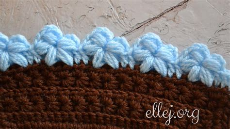 flower pattern edge edging with puff stitch flowers free crochet tutorials