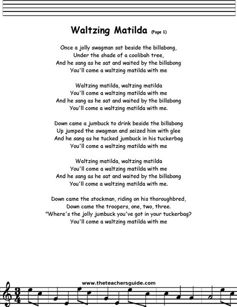 Printable Lyrics Waltzing Matilda | my trip to australia with images 183 evakoh 183 storify
