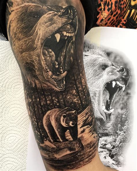animal tattoo upper arm grizzly half sleeve nature tattoos pinterest tattoo